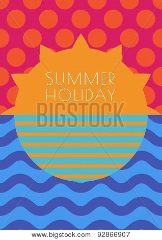 Vector Creative Summer Background, Multicolor Sun, Sky And Sea With Seamless Pattern. Abstract Flat