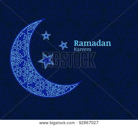 Ramadan Greeting Card With Light Blue Decorative Moon, Stars And Floral Seamless Pattern Background.