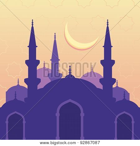 Vector Seamless Background With Silhouette Of Mosque Moon And Stars. Ramadan Kareem Greeting Card. D