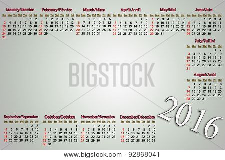 Calendar For 2016 In English And French On Pale