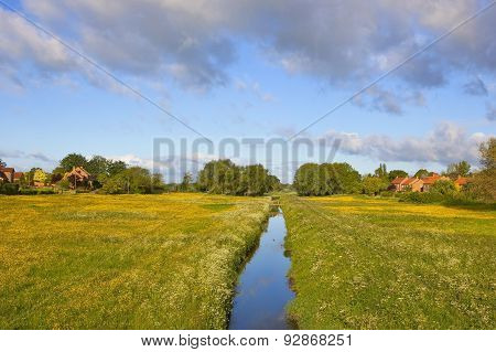 Yorkshire Village Stream And Meadows