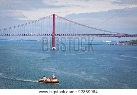 Bridge Of 25Th April Over Tagus River, Lisbon, Portugal