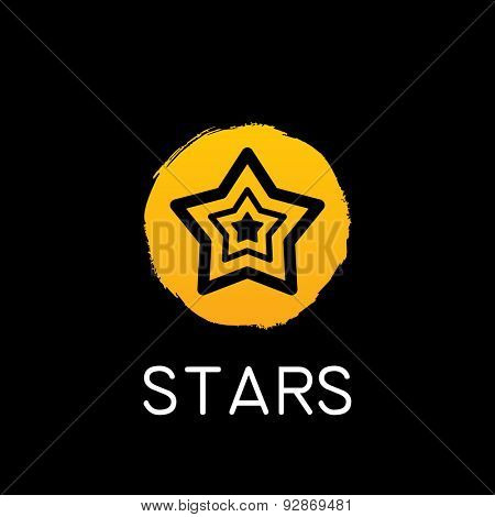 vector yellow star icon on black background