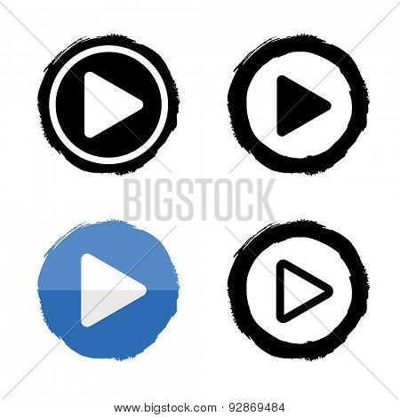 Play music icons set. Vector buttons white and black