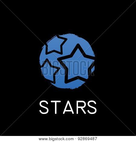 vector blue stars icon on black background