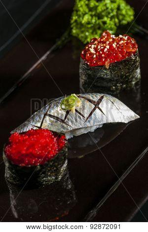 Sushi salmon caviar and sturgeon and sashimi