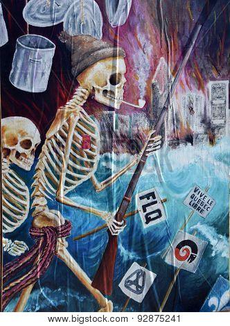 Street art FLQ skeleton