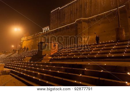 Raja Ghat In Varanasi At Night