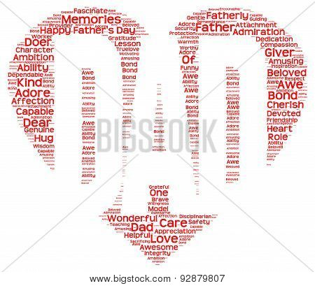 Tag cloud of father's day in the shape of red heart inscribing DAD