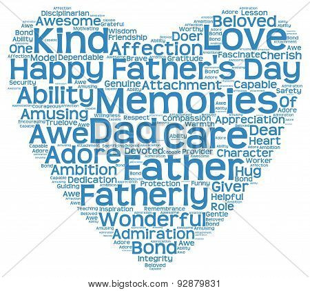 Tag cloud of father's day in the shape of blue heart