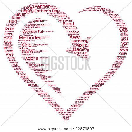 Tag cloud of father's day in a heart shape