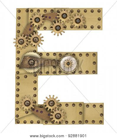 Steampunk mechanical metal alphabet letter E. Photo compilation