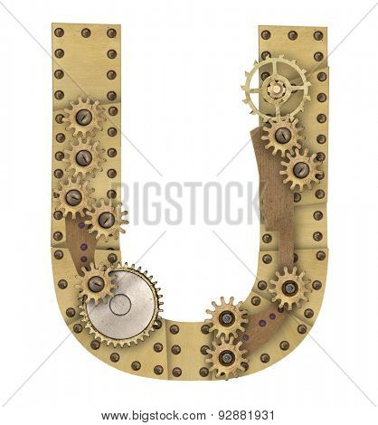 Steampunk mechanical metal alphabet letter U. Photo compilation