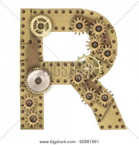 Steampunk mechanical metal alphabet letter R. Photo compilation