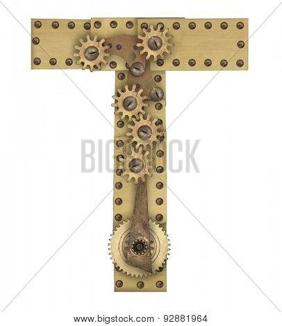 Steampunk mechanical metal alphabet letter T. Photo compilation