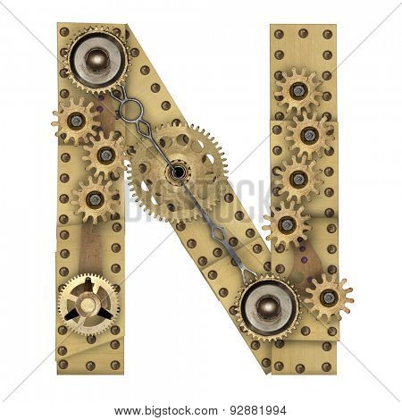 Steampunk mechanical metal alphabet letter N. Photo compilation