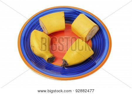 Slices Of Banana On Plate