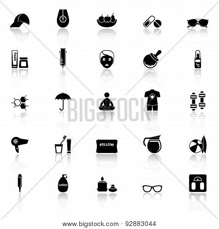 Facial And Body Treatment Icons With Reflect On White Background