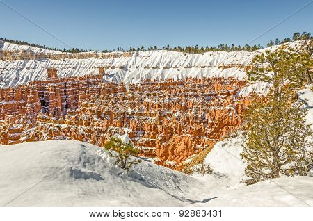 Hoodoos Surounded By Snow