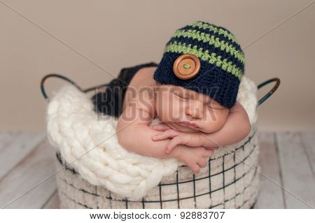 Newborn Baby Boy Wearing A Beanie Cap