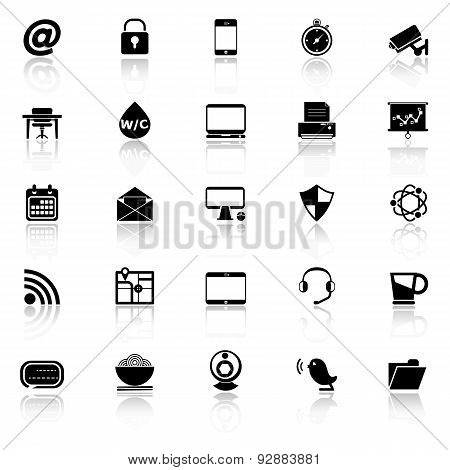 Internet Cafe Icons With Reflect On White Background