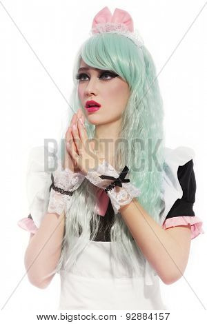 Young beautiful slim girl in cosplay wig and costume over white background