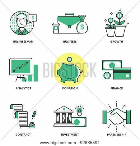 Banking And Finance Vector Icons Set