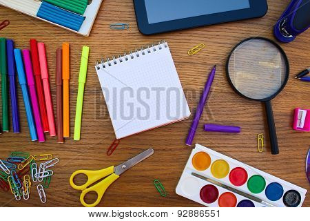 Stationery objects. Office and school supplies on the table.