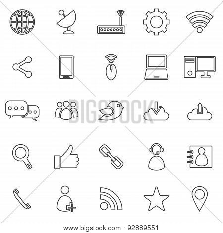 Network Line Icons On White Background