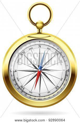 Realistic illustration of shiny golden compass.