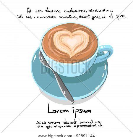 Coffe Cup Heart Shape Hand Draw Sketch Logo