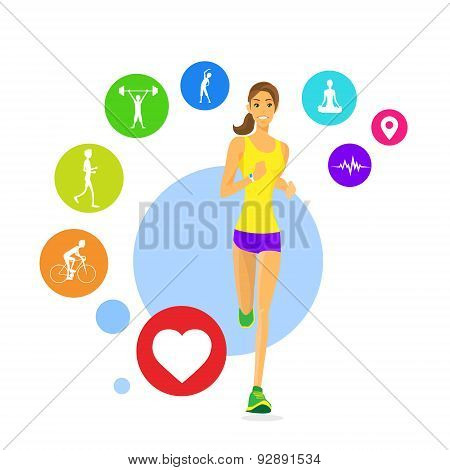 Sport Woman Run Fitness App Tracker Icons Wearable Technologies