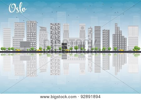 Oslo Skyline with Grey Building, Blue Sky and reflections. Vector Illustration