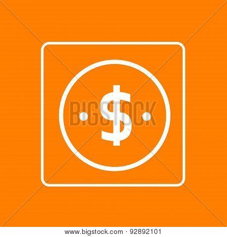 Dollar Sign Icon Thin Line Simple Logo Minimalistic Style