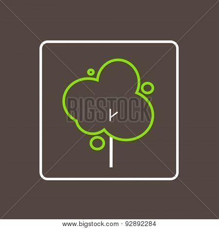 Tree Icon Thin Line Simple Logo Minimalistic Style Vector