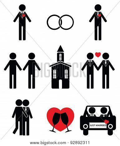 Gay man 2 wedding icon set