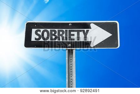 Sobriety direction sign with a beautiful day