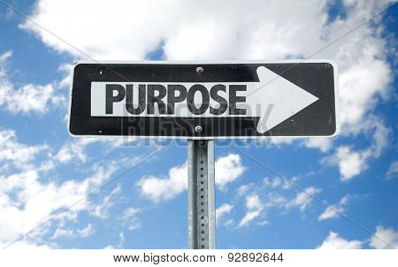 Purpose direction sign with sky background