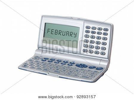 Electronic Personal Organiser Isolated - Februari
