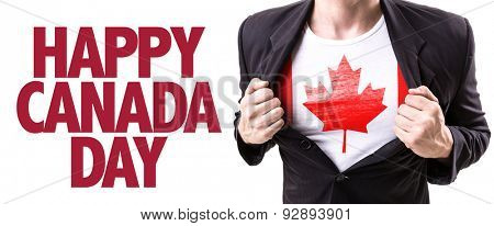Canada guy with the Canadian flag and the text: Happy Canada Day