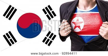 Guy with North Korea Flag with South Korea on background