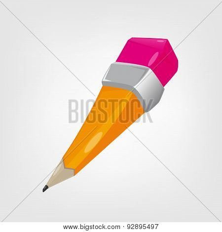 Illustration Of A Yellow Cartoon Pencil.