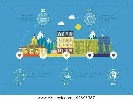 Ecology illustration infographic elements flat design. City landscape.