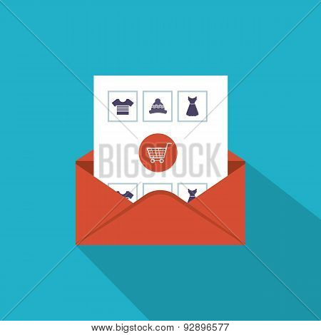 Flat design modern vector illustration icons set of email marketing, online shopping and mobile mark