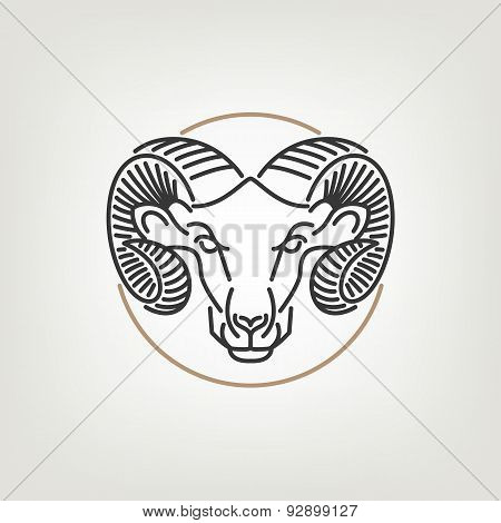 The Ram Head Outline Logo Icon Design.