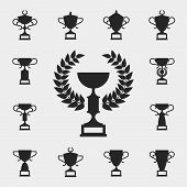 stock photo of trophy  - Trophy icons set - JPG