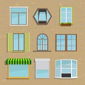 image of awning  - Set of icons of different types of windows - JPG