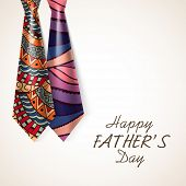 picture of special day  - Beautiful glossy floral design decorated neckties for Happy Father - JPG