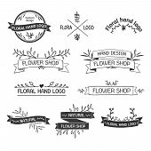 Retro Vintage Insignias or Logotypes set with floral elements and ribbons. Vector design elements, b poster