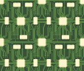stock photo of microchips  - Seamless microchip industrial electronic circuit vector pattern - JPG